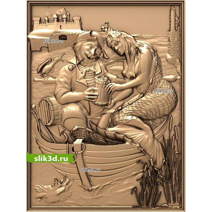3D STL Рыбак И Русалка